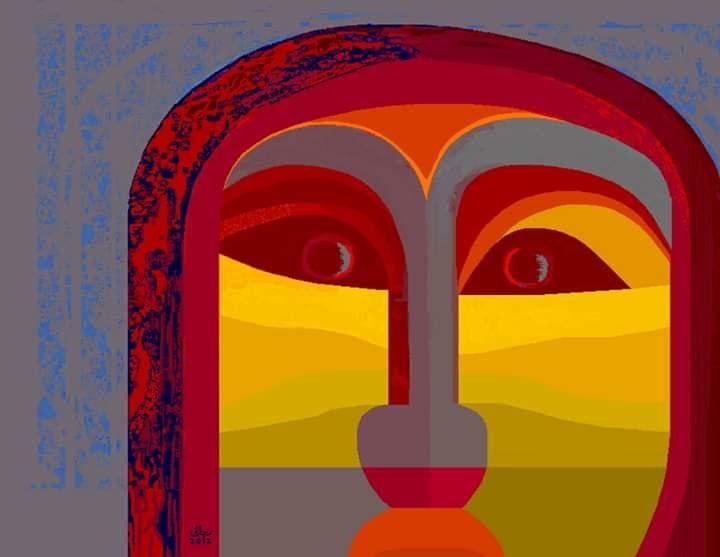 وجه .. جرافيك من أعمال رجائى الميرغنى، إلتقط هذا الوجه أثناء وجوده فى المستشفي سبتمبر 2012